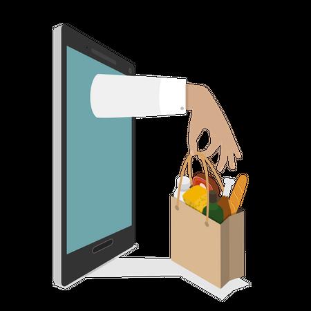 Online Grocery Ordering Illustration