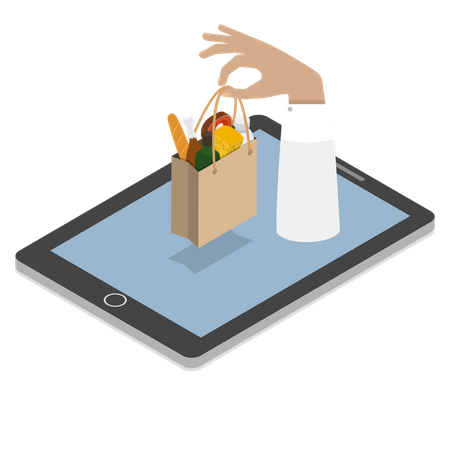 Online Grocery Shopping Illustration