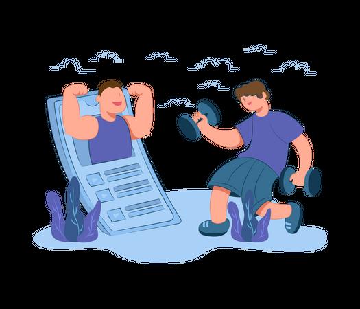 Online gym session Illustration