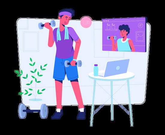 Online gym training Illustration