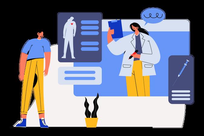Online health checkup Illustration