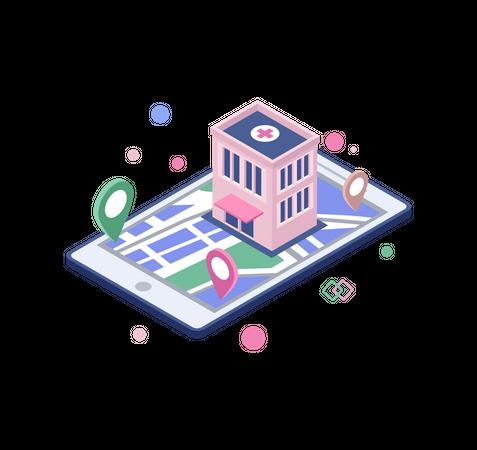 Online hospital location Illustration