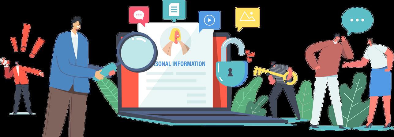 Online Information Hacking Illustration