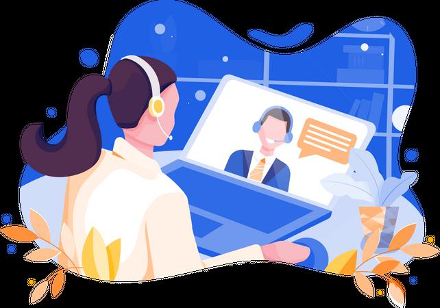 Online interview Illustration