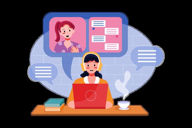 Online job interview Illustration