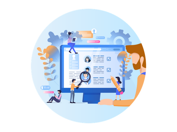 Online job Profile Search Illustration