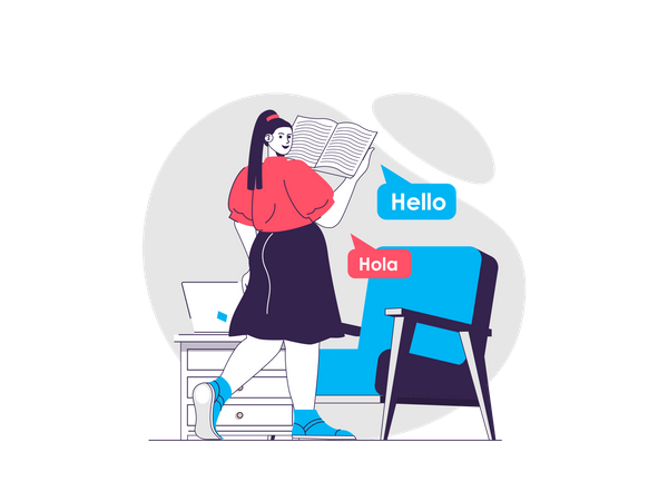 Online Language course Illustration
