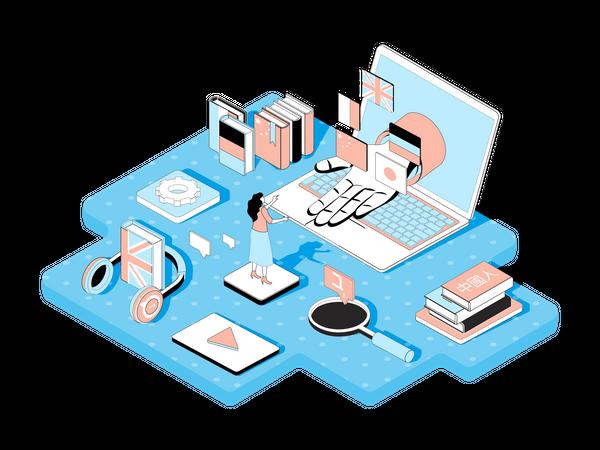 Online Language Learning Illustration