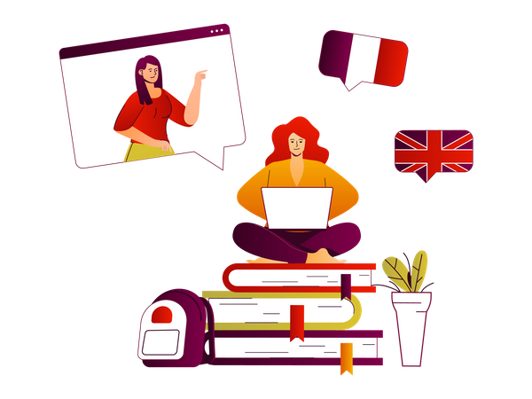 Online Learning Foreign Language Illustration