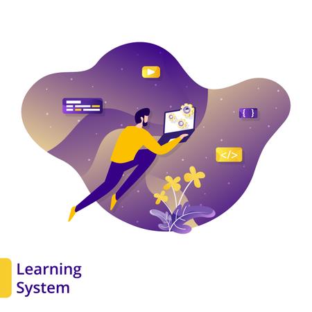 Online Learning System Illustration