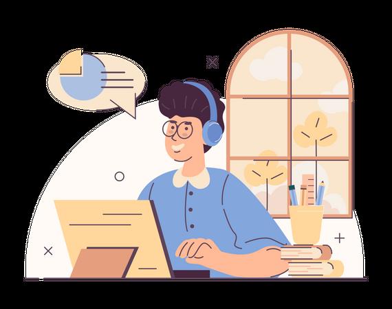 Online learning using tablet Illustration