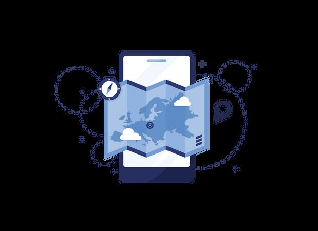 Online Map Illustration