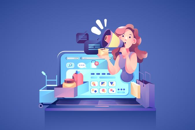 Online Marketing concept Illustration