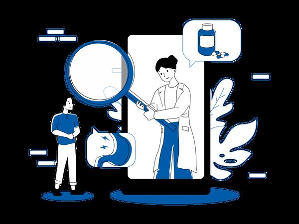 Online medical checkup Illustration