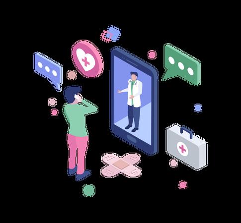 Online medical consultant Illustration