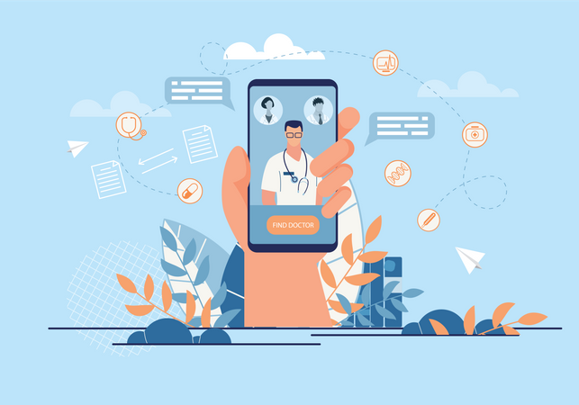 Online medical consultation Illustration