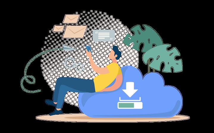 Online messages backup Illustration