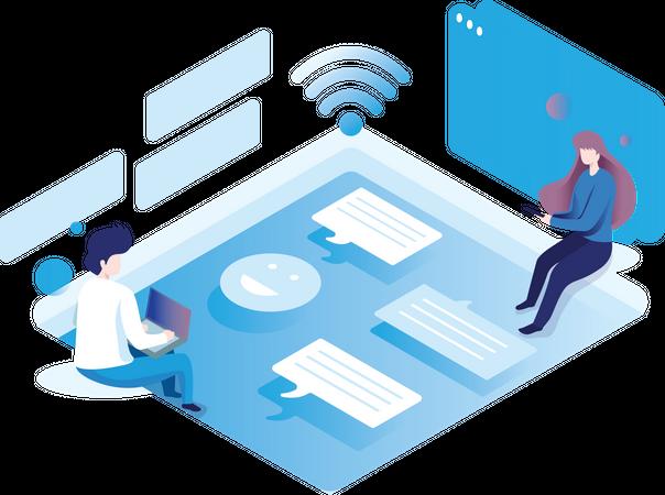 Online Messaging App Illustration