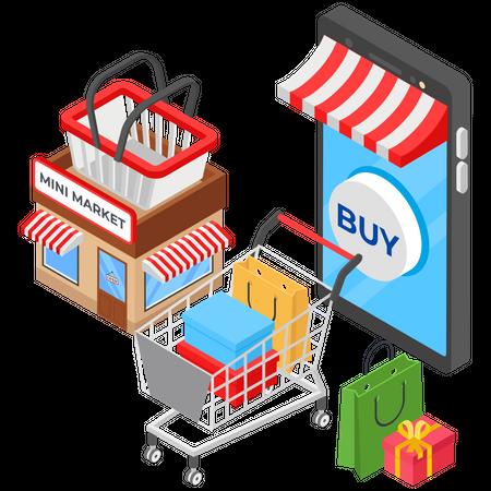 Online Mini Market Illustration