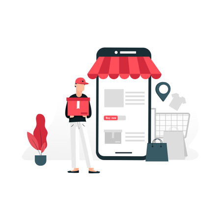 Online mobile store and home delivery Illustration
