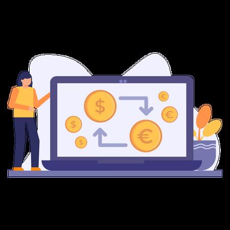 Online money conversion Illustration