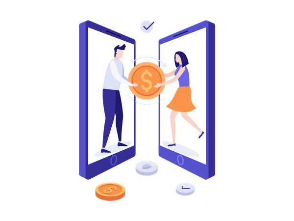 Online Money Transfer Illustration