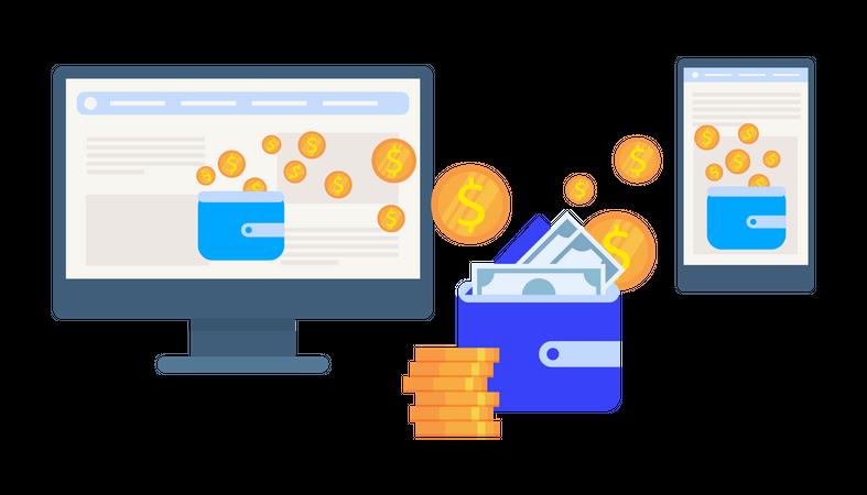 Online Money transfer from E-wallet Illustration