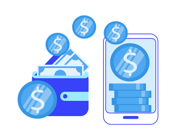 Online money transfer from wallet to bank Illustration