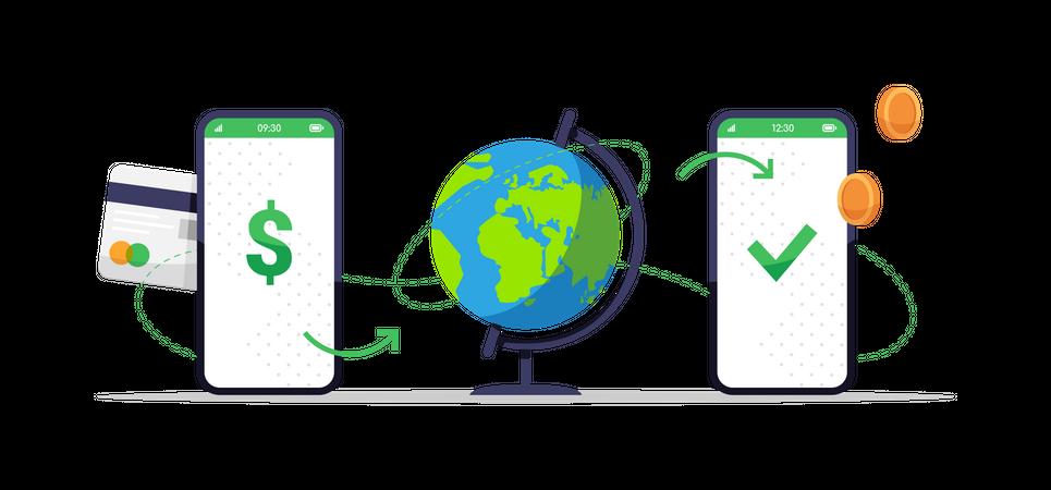Online money transfer over the globe Illustration