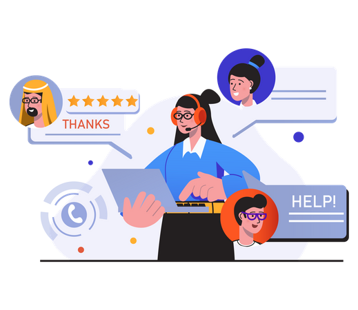 Online multiple customer support Illustration