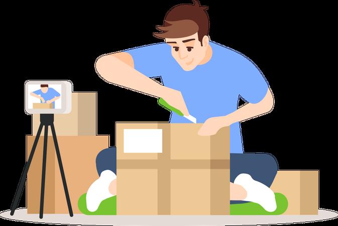 Online parcel unpacking Illustration