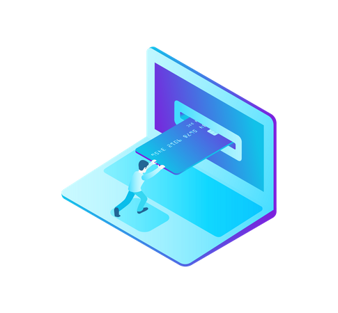 Online Payment by Credit Card on Laptop Illustration