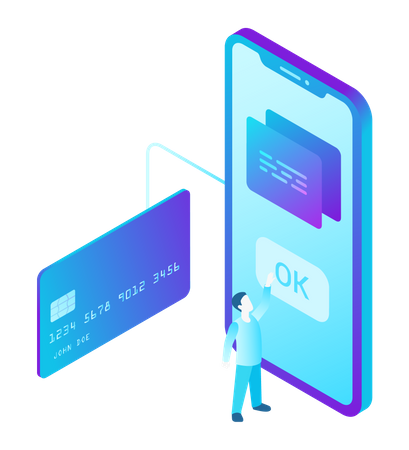 Online Payment by Credit Card on Smartphone Illustration