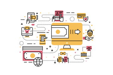 Duo Flat Line Illustrations V.2 Stock Images
