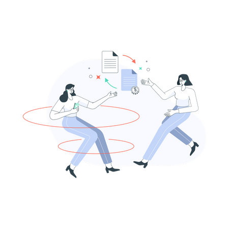 Online payment transfer Illustration