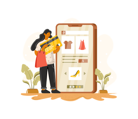 Online payment using card Illustration