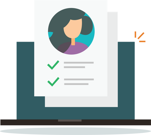 Online Personal identity form check list document Illustration