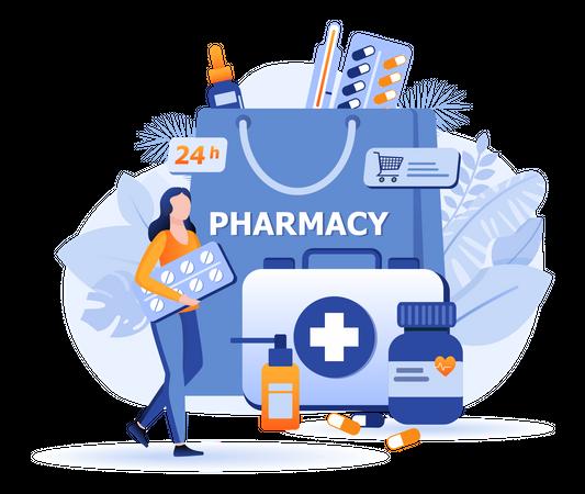 Online Pharmacy Scene Illustration