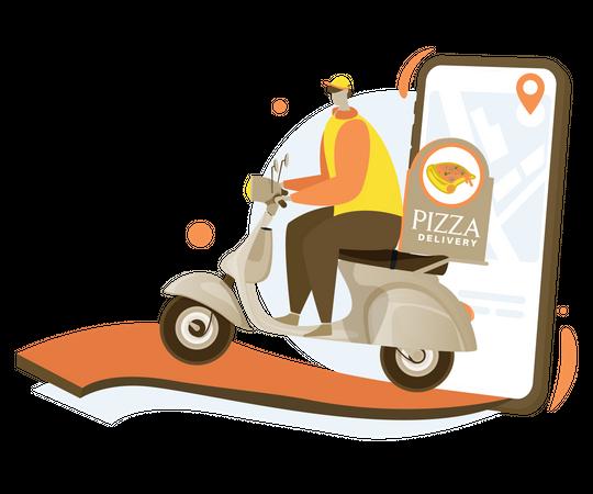 Online pizza delivery Illustration