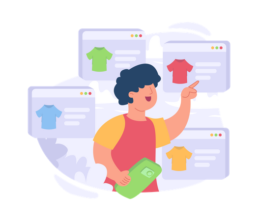 Online product selection Illustration