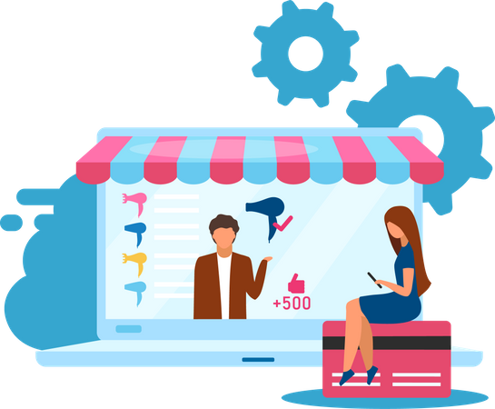 Online Products Selling Illustration