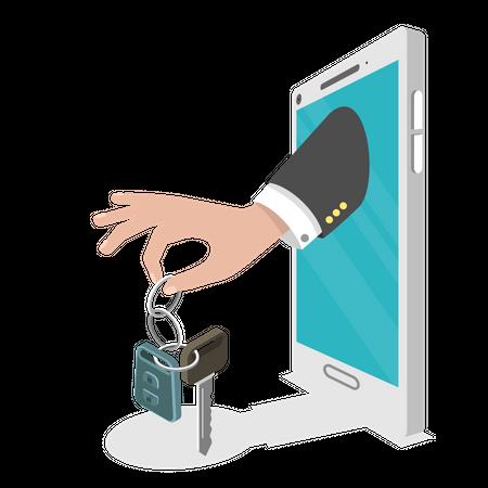 Online rental car service Illustration
