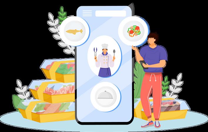 Online Restaurant Food Order Illustration