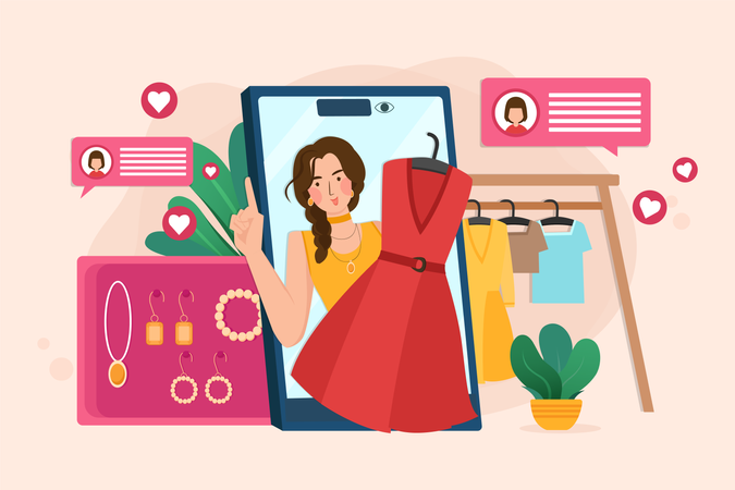 Online review for fashion and guidance for online shopping Illustration