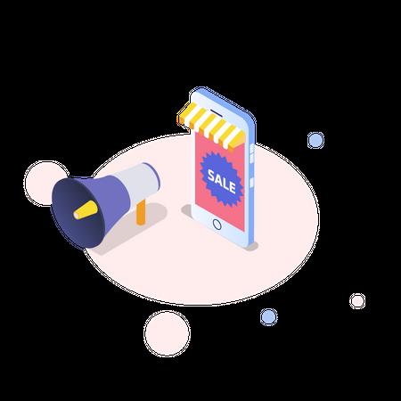 Online sale announcement Illustration