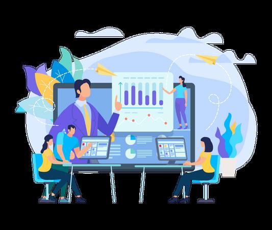 Online Sales and marketing Analysis Illustration