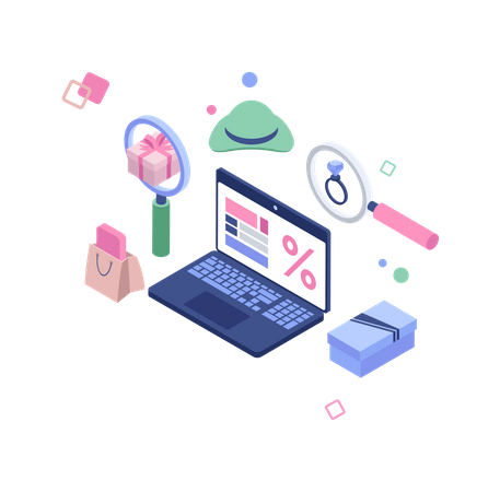Online searching product Illustration