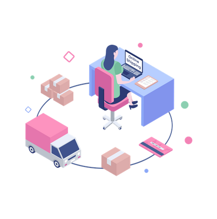 Online shipping Process Illustration
