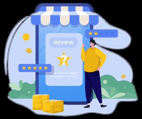 Online shop ask for your review Illustration