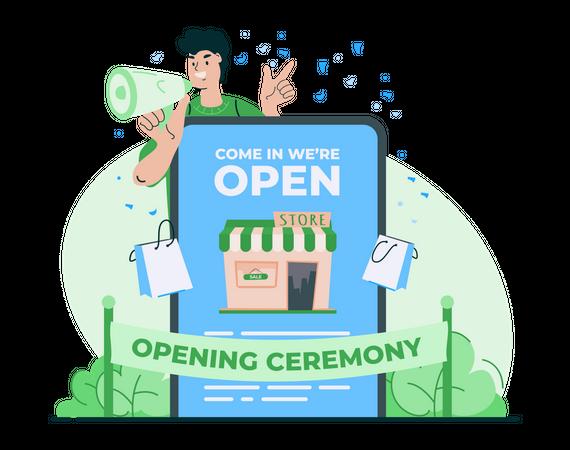 Online shop opening ceremony Illustration